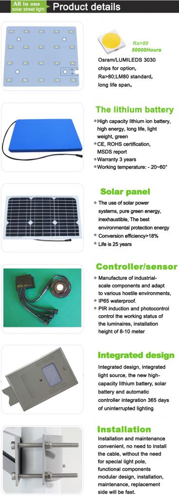integrato tutto in un lampione solare